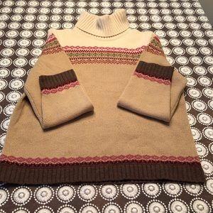 Eddie Bauer Fair Isle Style Turtle Neck Sweater